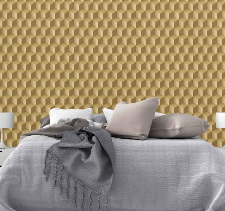 Tenstickers. 3d kvadrerar geometrisk tapet för form. 3d-rutor vinyltapet för vardagsrum. Den kan också appliceras på ett sovrumsutrymme och andra områden i ett hus. Lätt att applicera och original.