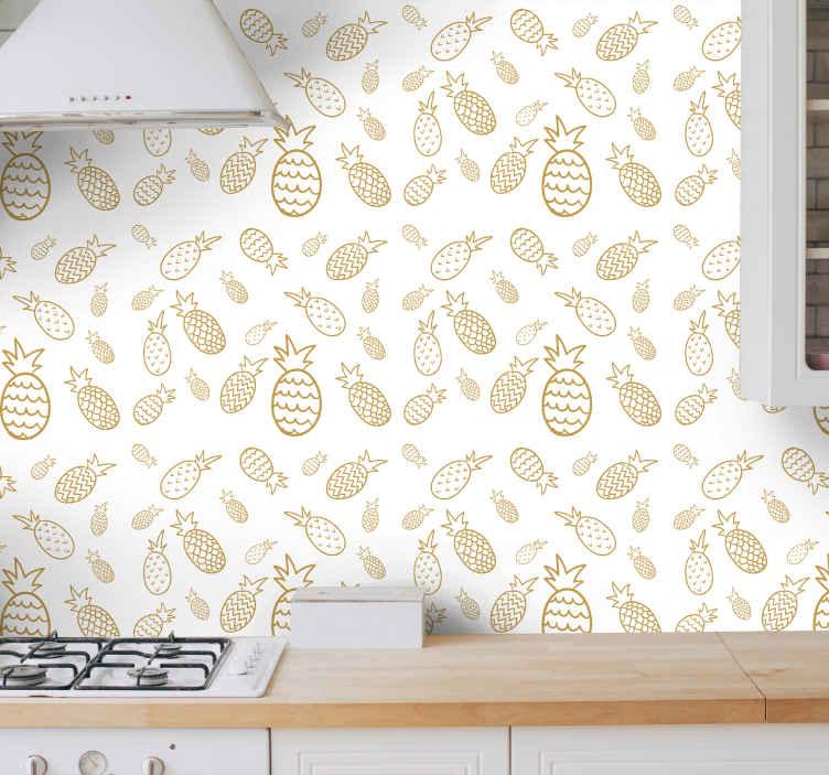 TenVinilo. Papel pared cocina patrón de piña. Papel pared cocina de piña que presenta un patrón de piñas en varias formas y tamaños con patrones únicos ¡Descuentos disponibles!