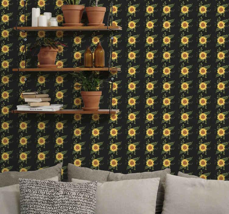 TenStickers. Papier peint fleur moderne sticker de tournesol. Papier peint tournesol qui présente un sticker de tournesols minutieusement dessinés entourés de feuilles. Inscrivez-vous maintenant pour 10% de réduction.