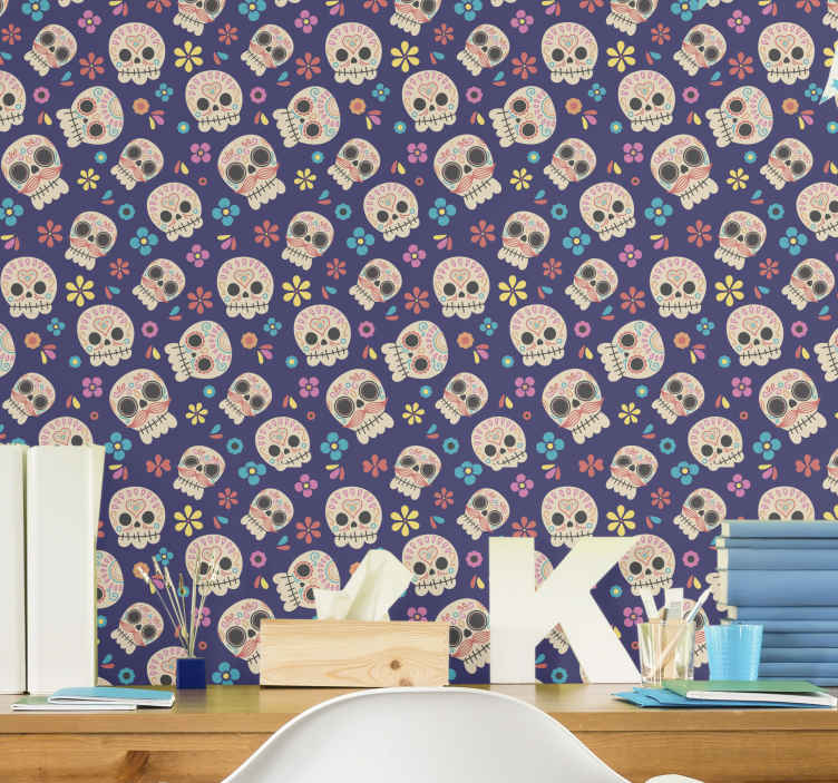 TenStickers. Mexican Skulls Teenage Bedroom Wallpaper. Teen wallpaper which features a pattern of skulls surrounded by various flowers and leaves. Extremely long-lasting material.