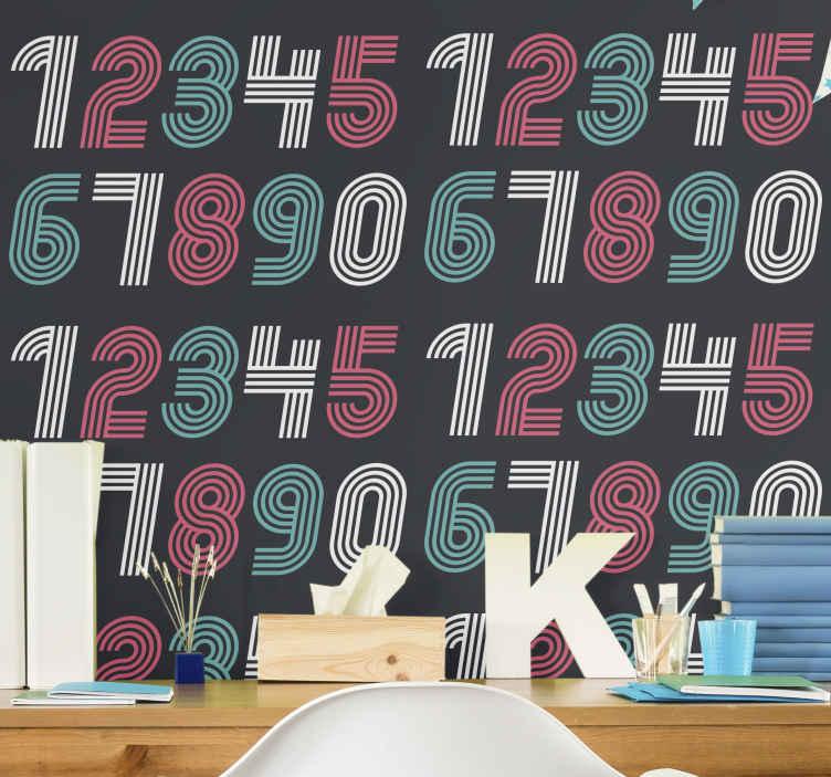 TenStickers. Papier peint chambre Numérologie. Papier peint de chambre d'adolescent de numérologie. Le design convient pour décorer la chambre des enfants. Sa conception contient des nombres numériques colorés de 1 à 0.