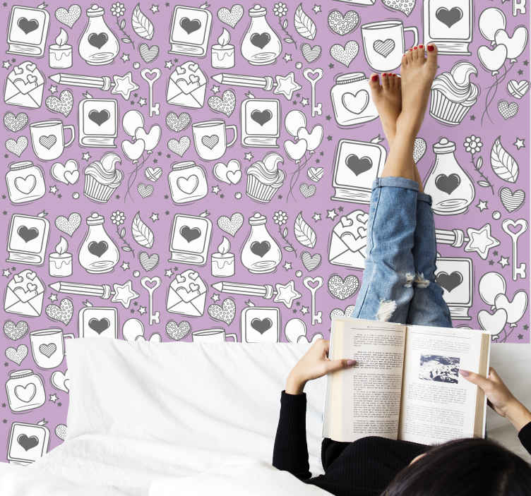 TenStickers. Carta da parati per ragazzi Libri romantici. Carta da parati 3d per camera da letto con illustrazioni di amore romanticismo in primo piano che disegnano disegni come libri d'amore, cuori, lettere, chiavi, candele d'amore e molto altro ancora.