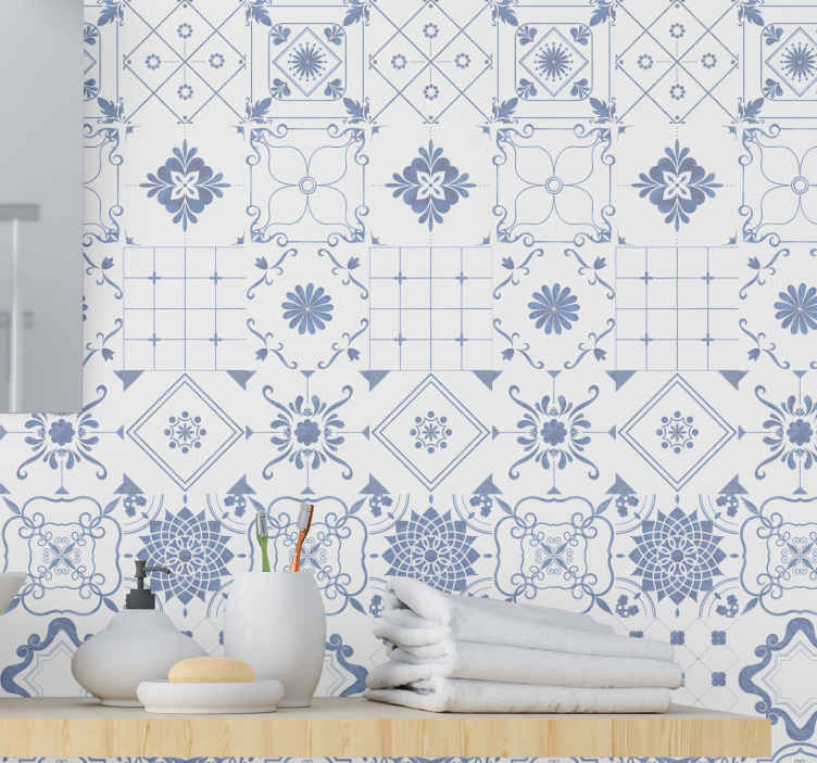 TenStickers. Nordic Tiles Tile Effect Wallpaper. Suitable kitchen and toilet wallpaper decoration. Cover these spaces in your home with this ornamental tile effect wallpaper for a change.