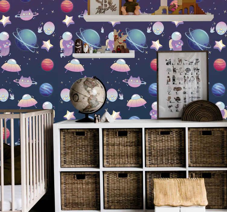 TenStickers. Carta da parati cameretta Pianeti connessi. Carta da parati della camera da letto dei bambini con l'illustrazione degli elementi differenti dello spazio. I bambini adorerebbero questa carta da parati ispirata alla scienza spaziale nello spazio della loro stanza.