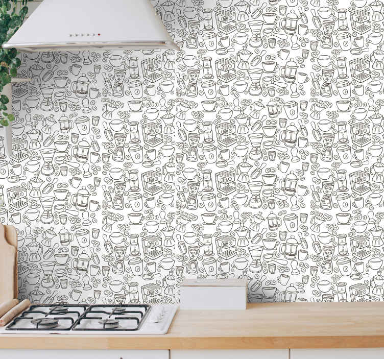 TenStickers. Coffee Beans Kitchen Vinyl Wallpaper. Patterned vinyl wallpaper for kitchen space decoration. Lovely design containing different coffee machines and and cup. Original, durable and durable.