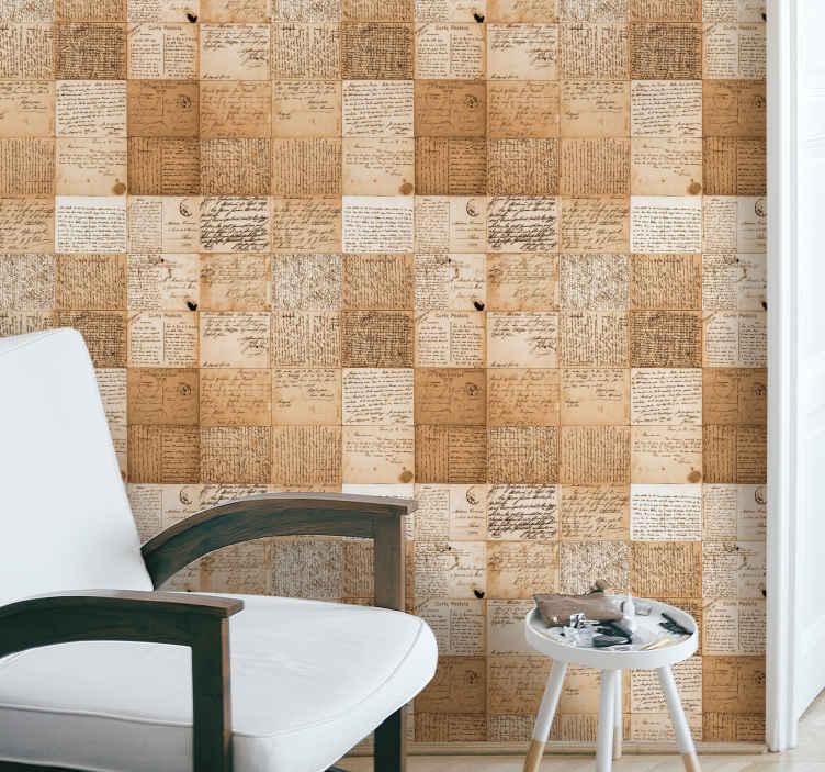 TenStickers. 旧报纸复古壁纸. 装饰旧报纸的复古图案墙纸,可以使您的墙壁看起来像粘贴了复古纸一样原始。原始且耐用。