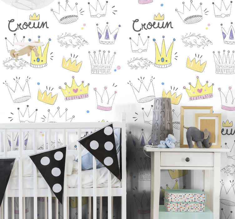 TenStickers. Little Crowns Kids Wallpaper. Ideal bedroom wallpaper for children. It contains different drawings of crowns and ornamental features. It is original, durable and easy to apply.