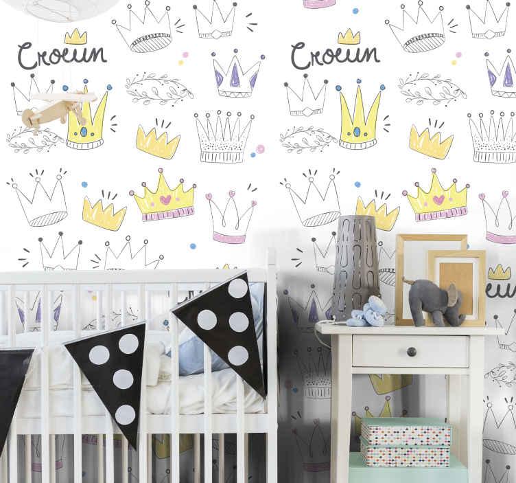TenStickers. Carta da parati cameretta Piccole corone. Carta da parati ideale per camera da letto per bambini. Contiene diversi disegni di corone e elementi ornamentali. è originale, resistente e di facile applicazione.