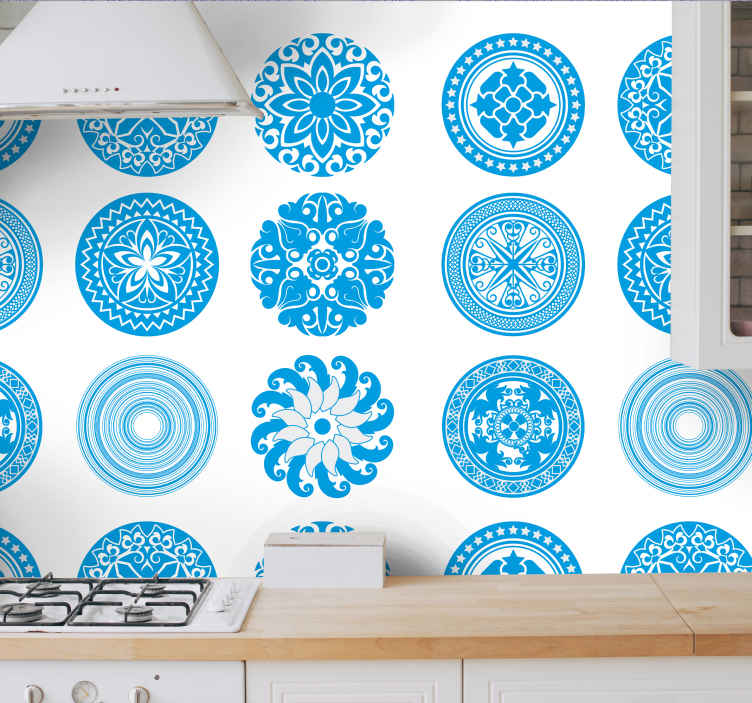 TenStickers. Round Tiles Lounge Wallpaper. Round tiles vinyl wallpaper for kitchen and other space of your choice. Design of different geometric ornamental patterns in blue and white colour.