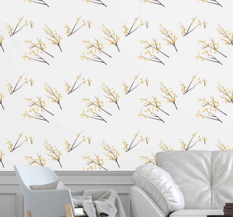 TenStickers. Cherry Blossom Branches palm tree wallpaper. Floral wallpaper which features a stunning pattern of Cherry Blossom branches with the flowers as little bubbles. Choose your size.