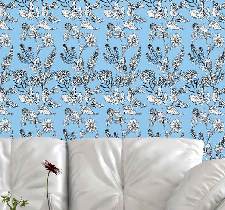 TenStickers. flowers on blue backgrounds Nature Wallpaper. Fantastic patterned flower wallpaper with blue background. The design would look amazing on any room decorated on in your home.