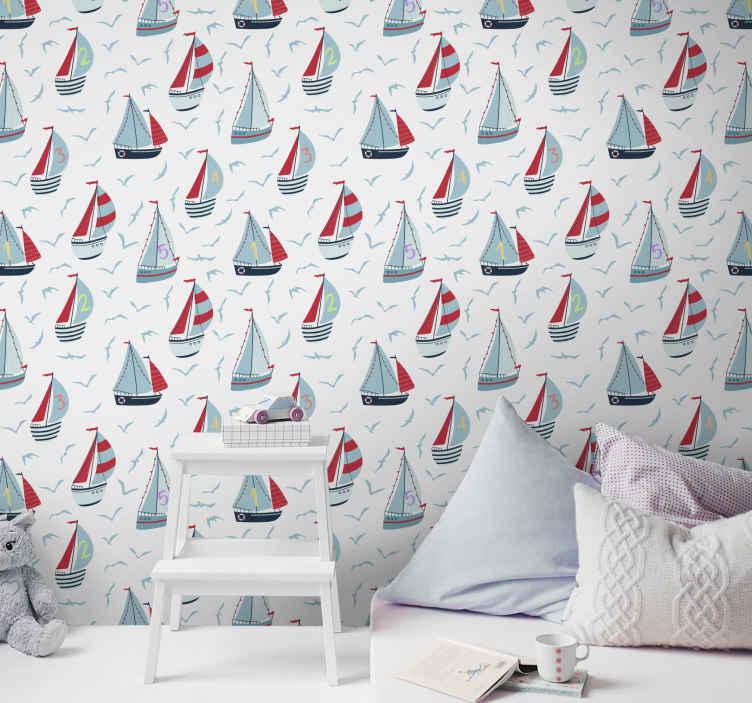 TenStickers. Papier peint chambre fille Bateaux au bord de la mer avec des chi. Papier peint pour enfants magnifiquement conçu de bateaux au bord de la mer. Les bateaux sont des numéros et il contient également des oiseaux volant dans le ciel.