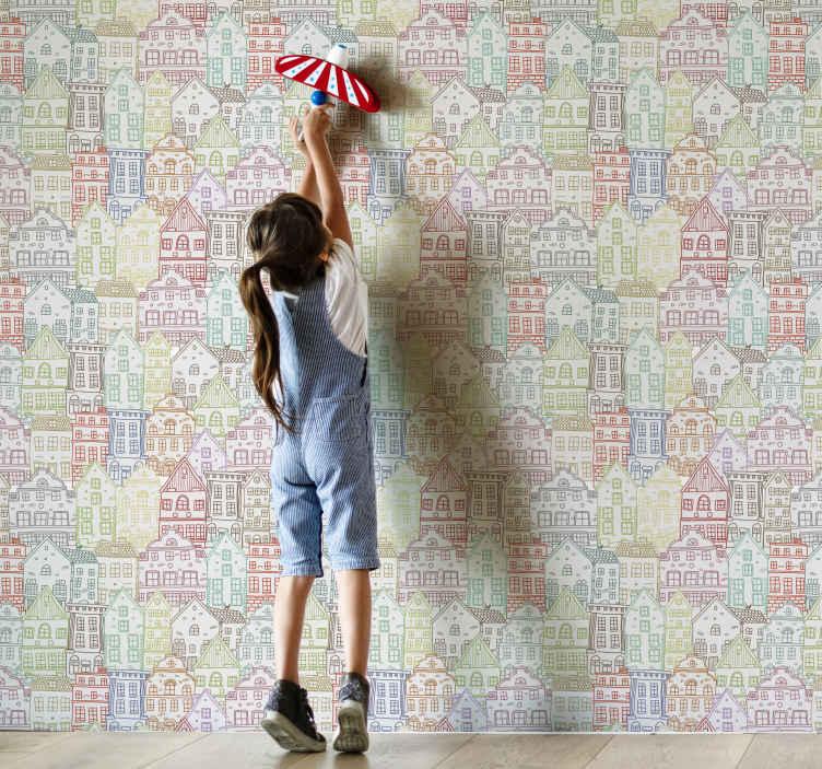 TenVinilo. Papel pared infantil patrón casas nórdicas. Papel pared infantil con motivos de casas de colores para dormitorio infantil. Diseño multicolor único ¡Descuentos disponibles!