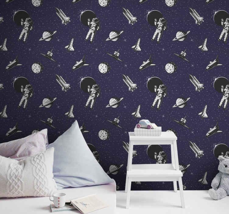 TENSTICKERS. 宇宙壁紙宇宙飛行士と星星の壁紙. 宇宙飛行士、宇宙船、宇宙の素晴らしい科学空間のイラストが描かれた子供の寝室の豪華な壁紙。