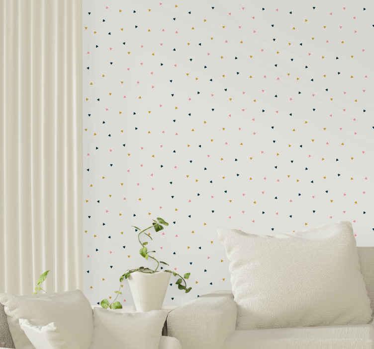 TenStickers. papel parede triângulos Triângulos geométricos. Papel de parede decorativo triângulos geométricos coloridos para sala de estar e outros espaços. Este produto de design é fabricado com material de alta qualidade.