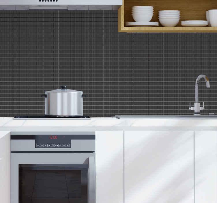 TenStickers. Carta parati 3d Carta da parati 3d piastrelle nere. Carta da parati con texture piastrelle marroni per cucina da appoggiare sulla superficie del muro della tua cucina per creare un look incantevole e sorprendente. è facile da applicare.