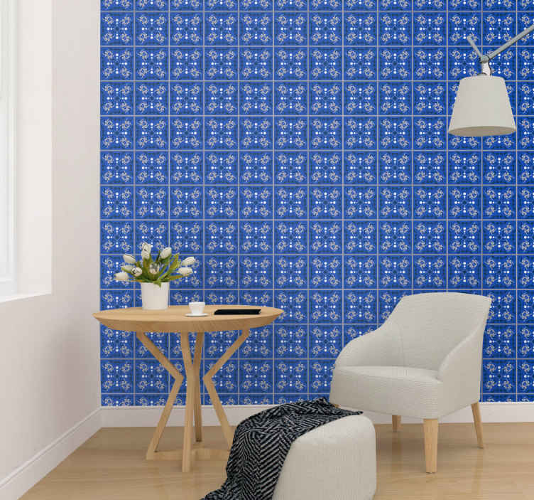 TenStickers. blue squares with the grey line Square pattern Wallpaper. Decorative blue squares with grey line wallpaper. The squares are filled with little insects and ornamental prints. Easy to apply and original.