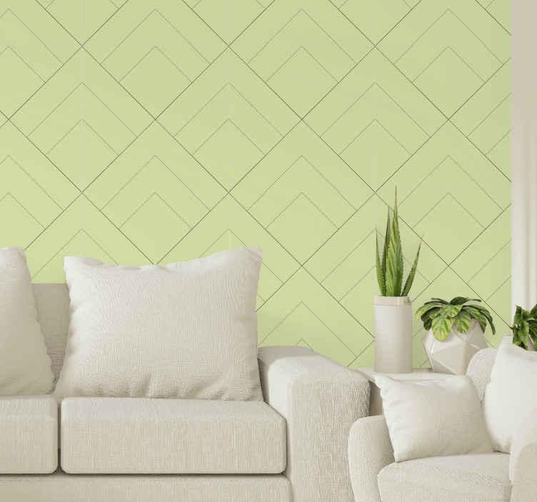 TenVinilo. Papel pared geométrico patrón diamantes. Patrones de diamantes en papel pintado rayas con fondo verde ideal para tu salón o dormitorio. Elige los rollos ¡Compra online!