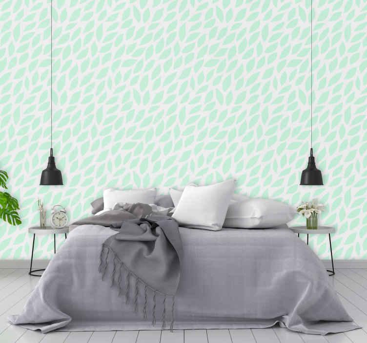 TenStickers. Behang groene bladeren. Groene bladeren behang voor de slaapkamer, het kan ook in een woonkamer worden gedecoreerd. De applicatie is heel eenvoudig en kan op elk moment worden verwijderd.