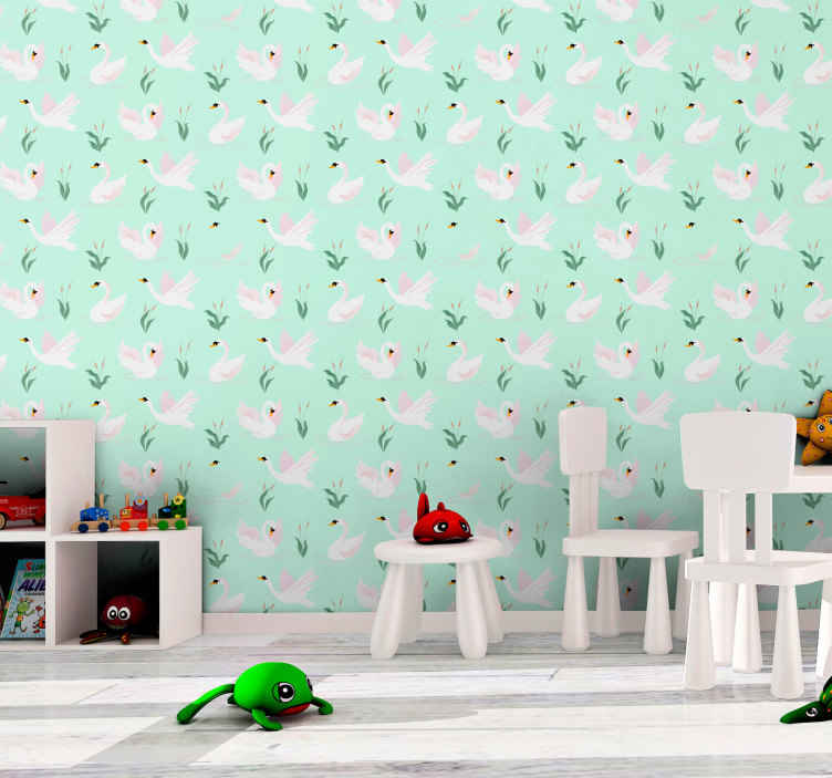 TenStickers. Swans flying away Kids Wallpaper. Lovely children bedroom wallpaper patterned with flying swans. Create an exceptional atmosphere in the bedroom of your young kid with our designs.