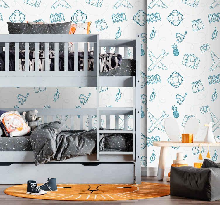 TenStickers. Carta da parati cameretta Aerei su uno sfondo bianco. Aerei su uno sfondo bianco carta da parati. L'abito di design per decorare la stanza dei bambini contiene vari elementi che illustrano il viaggio.