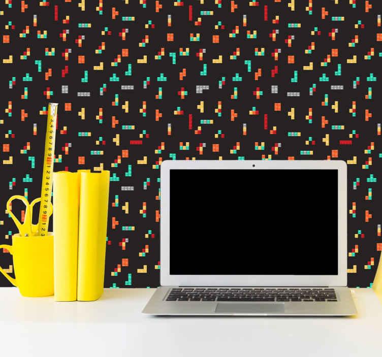 TenStickers. papel parede moderno Tetris preto moderno. Fundo preto decorativo com papel de parede estampado de tetris. Papel de parede adequado para sala de estar e qualquer outro espaço interior de uma casa.