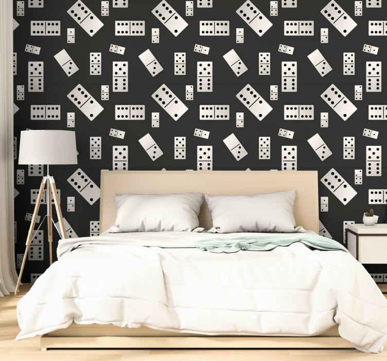 TenStickers. Fekete-fehér dominó játék tizenéves hálószoba háttérkép. Fekete-fehér dominó játék mintás hálószoba háttérkép. A design öltöny otthona bármely más részének díszítésére. Könnyen alkalmazható és tartós.
