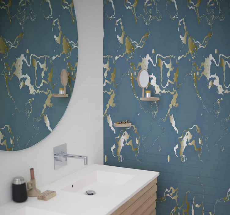 TenVinilo. Papel pintado imitación mármol azul elegante. Hermoso papel pintado imitación mármol para que decores tu casa con un diseño original y exclusivo. Elige unidades ¡Envío exprés!