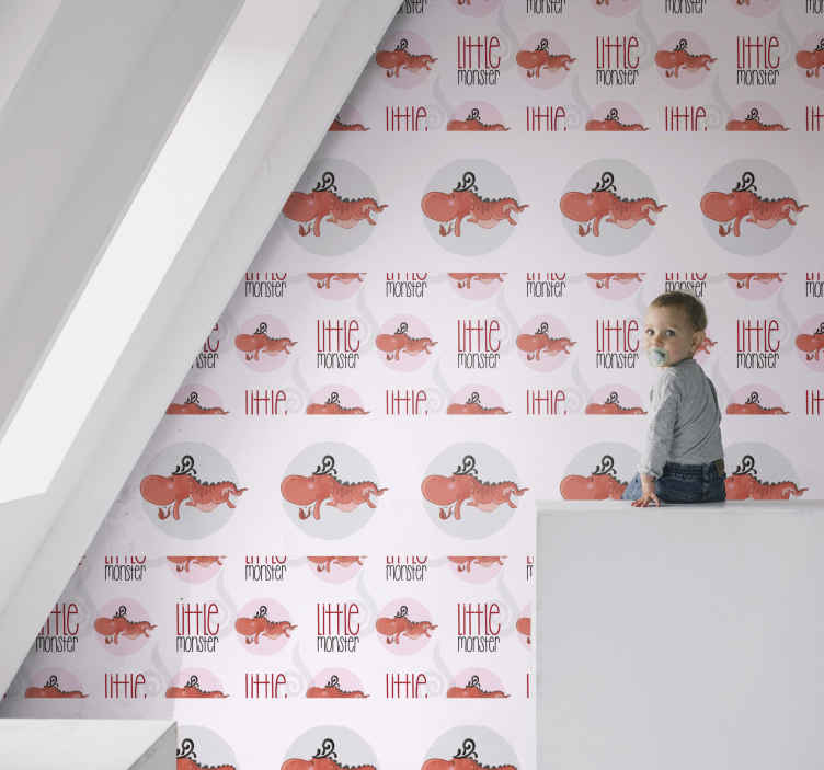 TenStickers. 边框风格的壁纸与可爱的龙酷动物壁纸. 边框样式与儿童卧室的可爱龙动物壁纸。采用优质材料制造的原始设计。