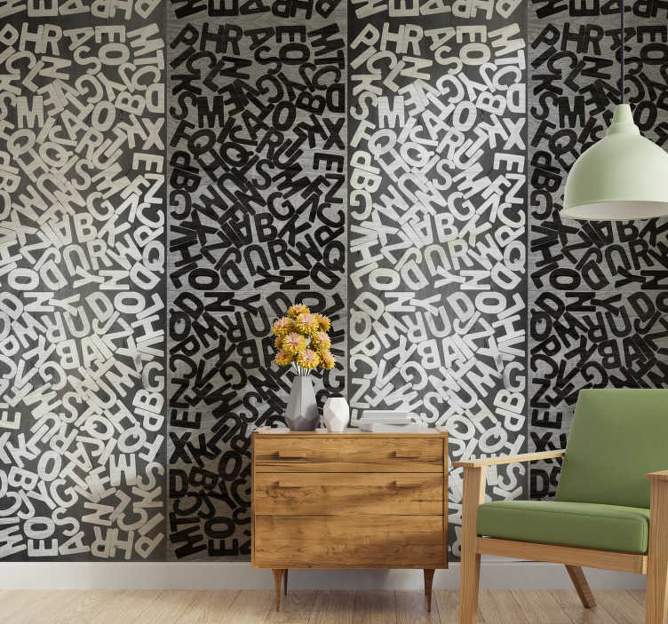 TenStickers. Platinum enigma Dining Room Wallpaper. Personalize your home with your love for literature and writing with this patterned wallpaper with writings. Perfect for bedrooms and offices.