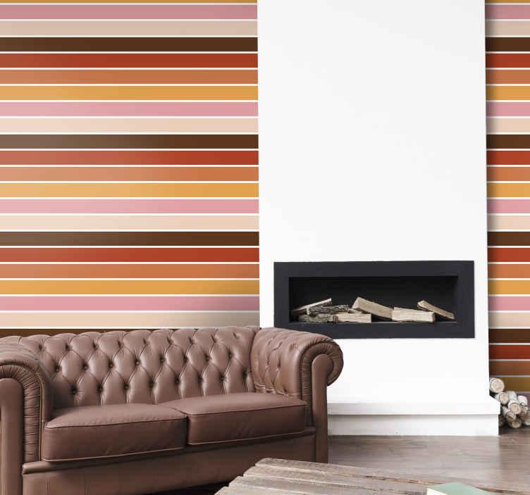 TenStickers. Tapeta do salonu Słońce lat 70. Pozioma tapeta z lat 70-tych. Projekt ilustrujący separację słońca poprzez załamanie kolorów. Jest oryginalny, trwała, wodoodporny i łatwy w aplikacji.