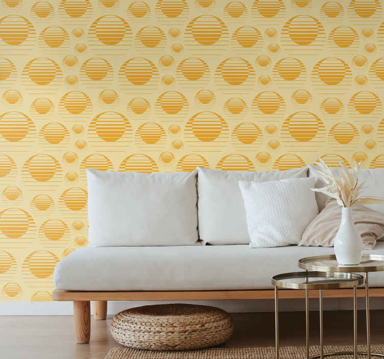 TenStickers. Carta parati geometrica Tiraggio del sole retrò. Carta da parati di forme geometriche che illustra il sole in colore giallo e sfondo. Facile da applicare, resistente, impermeabile e originale.