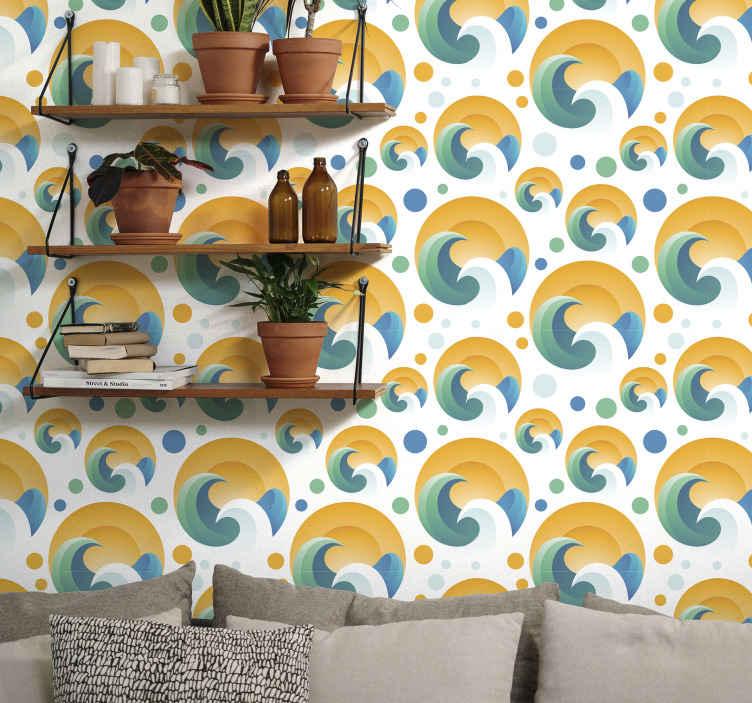 TenStickers. Tapeta do salonu Słońce i fale. Dekoracyjne tapety geometryczne słońce i fala z jasnym tłem. Odpowiedni projekt do salonu, a także do innych obszarów w domu.
