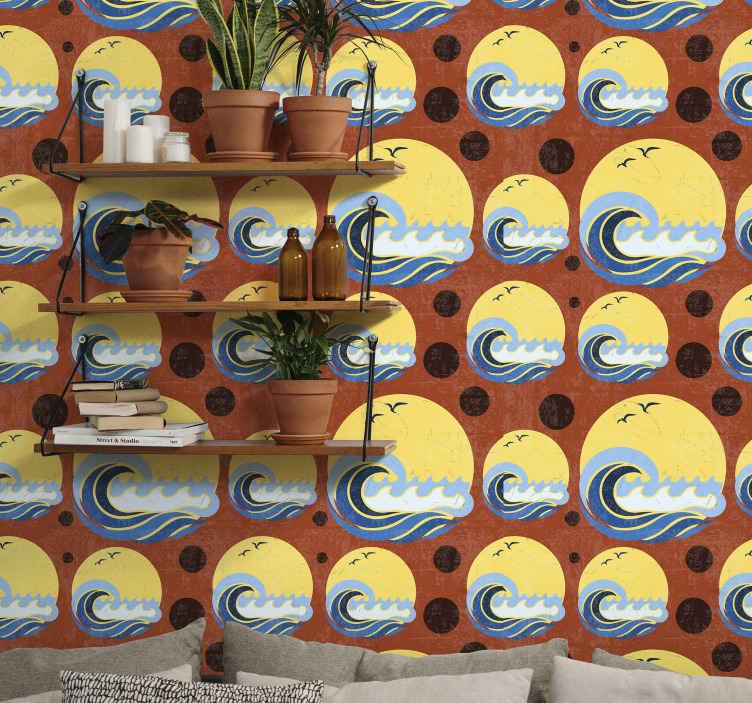TenStickers. Güneş, plaj ve dalga geometrik duvar kağıdı. Güneş, plaj ve dalga geometrik şekli duvar kağıdı. Oturma odası ve ayrıca evin diğer alanları için uygun tasarım. Orijinal ve dayanıklıdır.