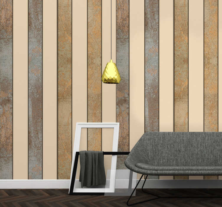 TenStickers. Styling of Concrete Textured Wallpaper. Amazing patterned wallpaper with a fantastic white and beige striped pattern perfect for the living room and dining room.