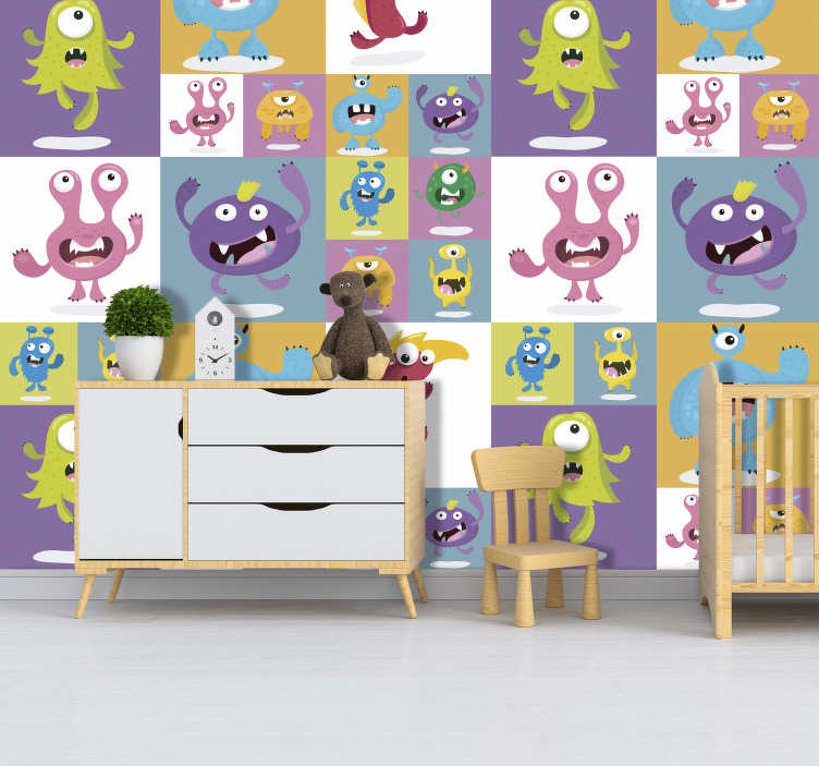 TenStickers. Friendly monsters kids Wallpaper. Planning on decorating your little monster's room soon? This kids wallpaper will create that fun and colourful atmosphere that kid's bedrooms need!