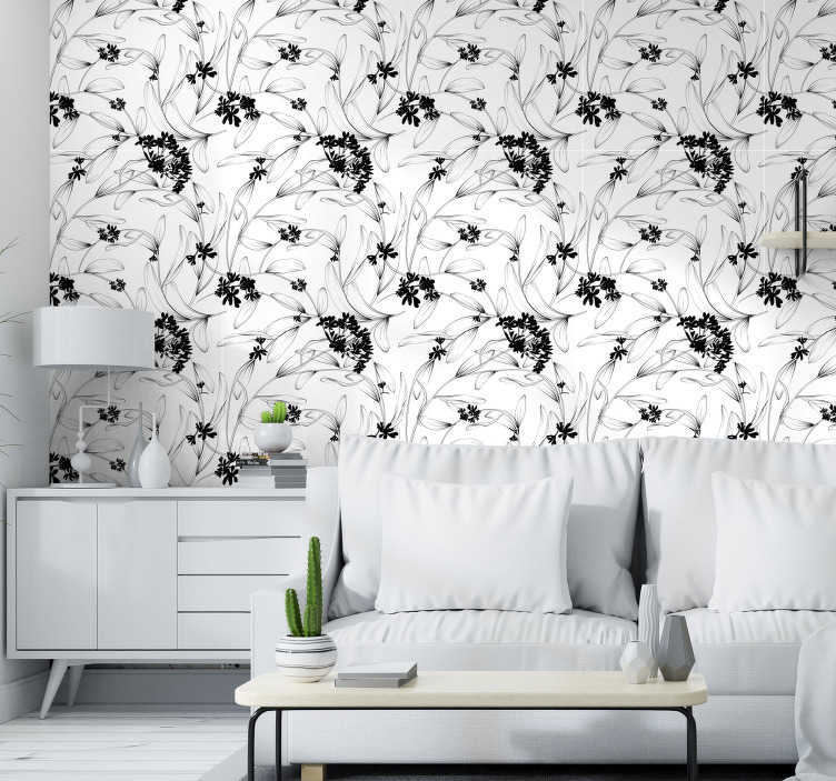 TenStickers. Lilies avant-garde Flower Wallpaper. Superb nature wallpaper with a pattern composed of beautiful lilies in silhouette in a classic style on a white background. Perfect for living room.