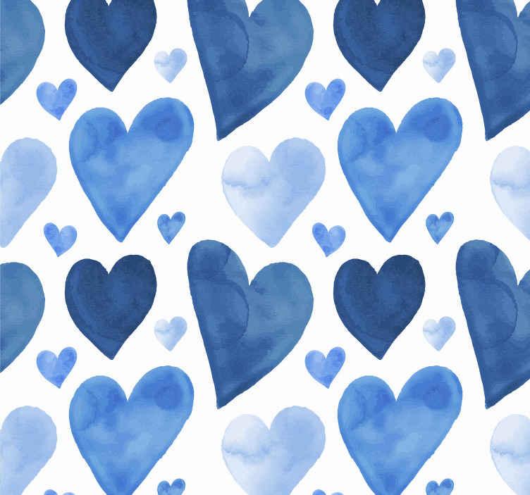 TenStickers. Abstract behang licht blauwe hartjes. Een mooi abstract hartjes behang ontwerp voor uw slaapkamer of woonkamer. Behangpapier abstract hartjes voor frisse en moderne sfeer in huis!