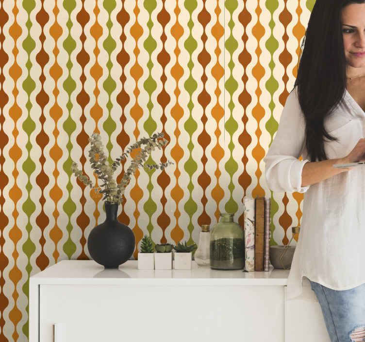 TenStickers. 70'lerin şerit figürleri retro duvar kağıdı. Ev dekorasyonu için güzel desenli şekil şerit duvar kağıdı tasarımı. En iyi kalitede tasarlanmış bu duvar kağıdıyla mekanınıza yeni bir aura ekleyin.
