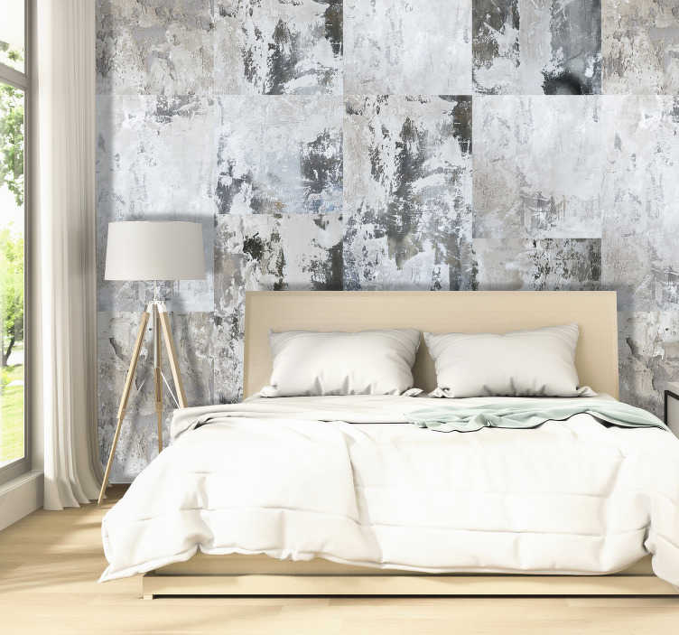 TenStickers. Dark Composition Modern Wallpaper. Renew the walls of your bedroom or living room with this wonderful abstract wallpaper with a pattern with different fills.