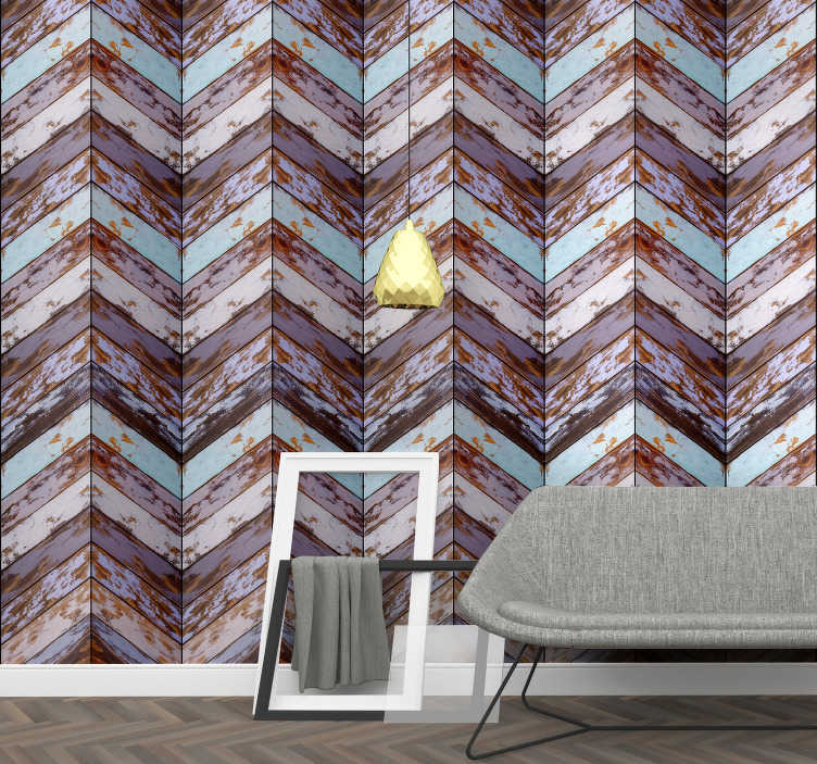 TenStickers. Scandivavian Overture Pattern Wallpaper. Give life and color to the walls of your home with this magnificent textured wallpaper imitating wood in pastel shades with a rustic touch.
