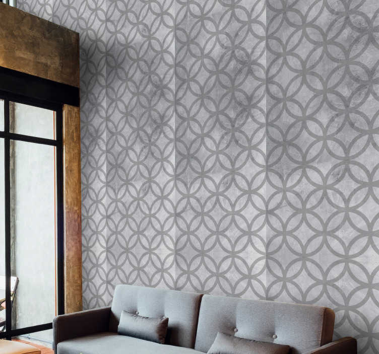 TenStickers. Dots on Concrete Circle Pattern Wallpaper. Give your living room or bedroom a new lease of life with this magnificent geometric shapes wallpaper imitating concrete.