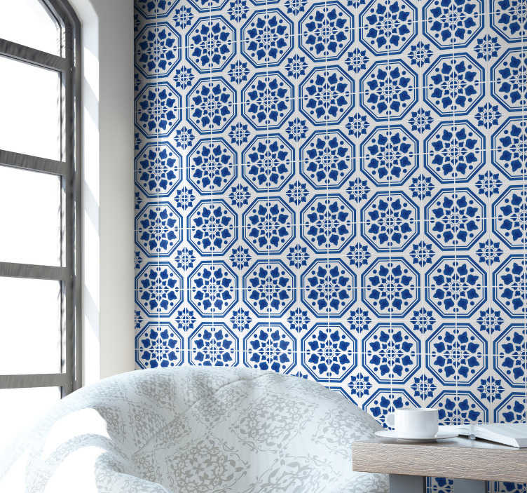 TenStickers. Sapphire Classics Tile Wallpaper. This ornamental wallpaper is perfect for those who want to decorate the house, avoiding all the hassles inherent to traditional decorative methods.
