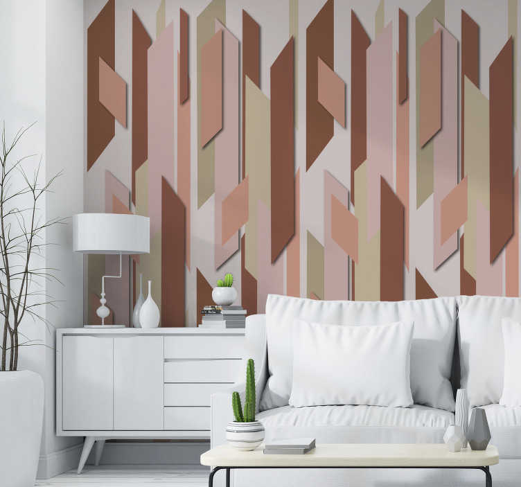 TenStickers. Strawberry Field Dining Room Wallpaper. Decorate your home in a vintage style with this wonderful abstract wallpaper with pieces in various shades of red on a beige background.