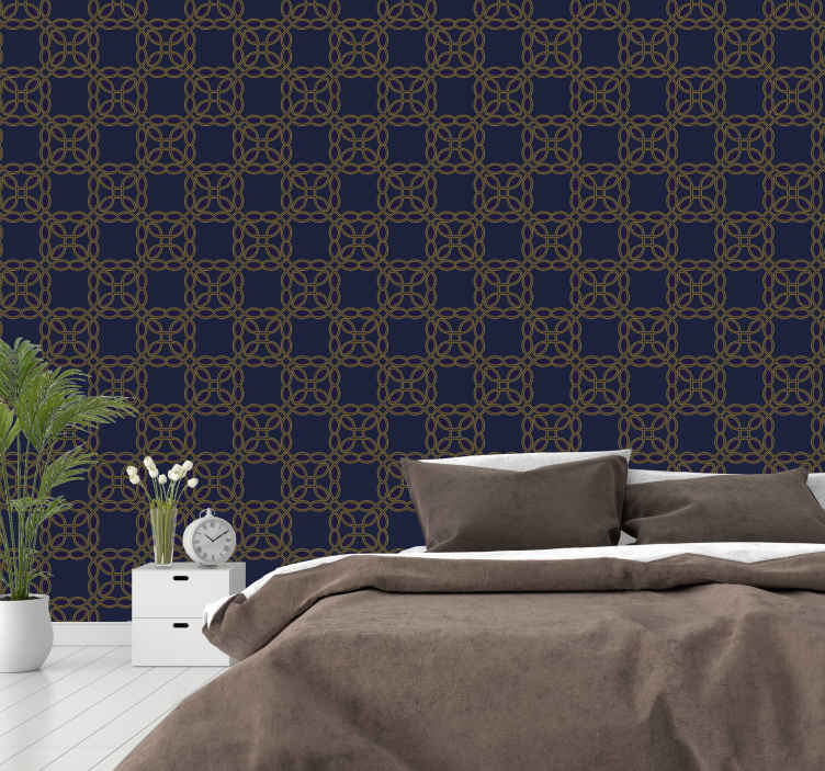 TenStickers. Luxury pattern blue  Contemporary Wallpaper. Patterned wallpaper with elegant and luxurious style that is able to completely change the atmosphere of your room in blue color.