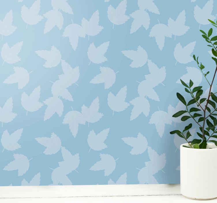 TenStickers. 蓝色和棕色的树叶壁纸. 叶子墙纸,其特征在于浅棕色背景上的蓝色叶子的图案。注册10%的折扣。高品质的材料。