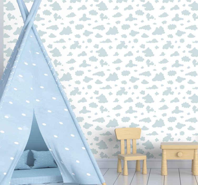 TenStickers. papel de parede criança Nuvens azuis claras. Surpreenda seu filho hoje com este papel de parede de nuvem do céu. Facilmente lavável com água e sabão normal, se o seu filho o sujar acidentalmente!