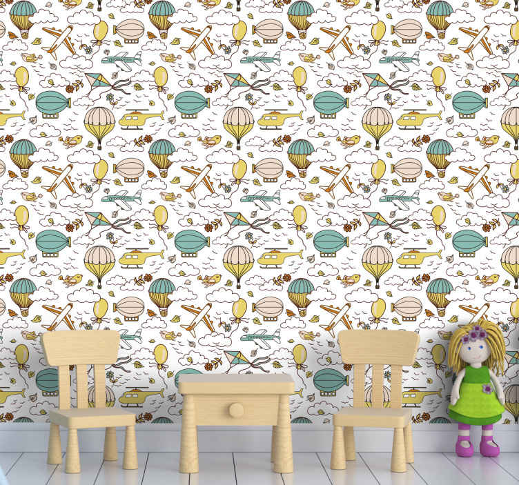 TenStickers. Flying Vehicle Kids Wallpaper. Kids wallpaper which features  a pattern of helicopters, hot air balloons, helicopters and other flying vehicles amongst some clouds.