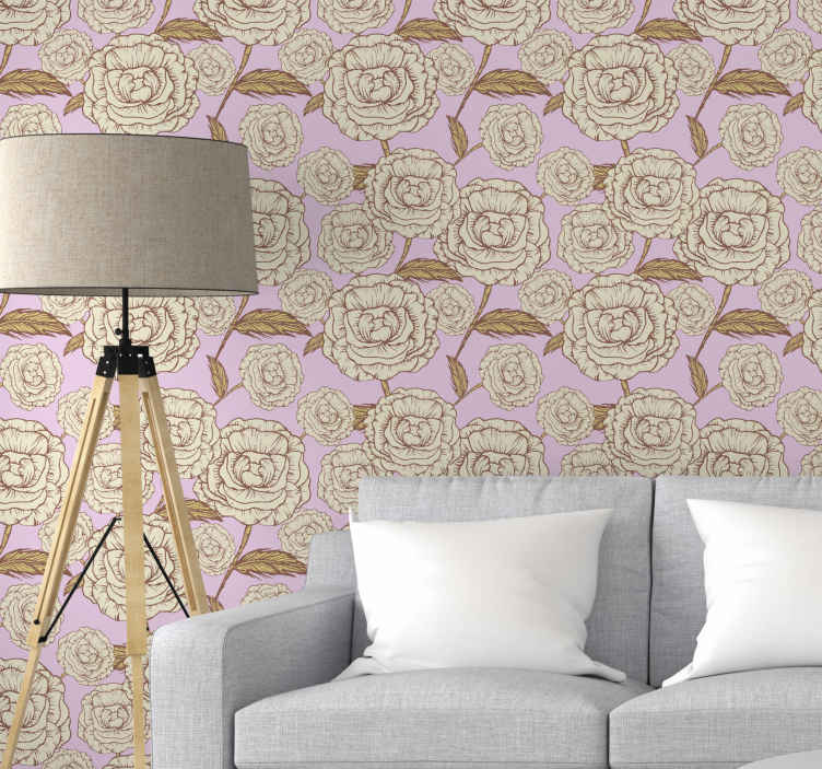 TenStickers. Retro pembe güller duvar kağıdı. Retro pembe gül duvar kağıdı tasarımımızla bugün duvarlarınıza yeni ve benzersiz bir görünüm kazandırın! şimdi sipariş edin ve birkaç gün içinde evinize verin!