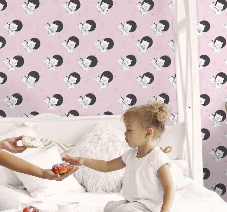 TenVinilo. Papel pintado bebé cebras y osos. Papel pintado de animales que presenta un patrón de cebras y osos rodeados de estrellas y coronas. Elige tus rollos ¡Envío exprés!